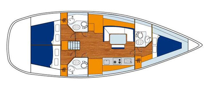 Floor plan Beneteau 433