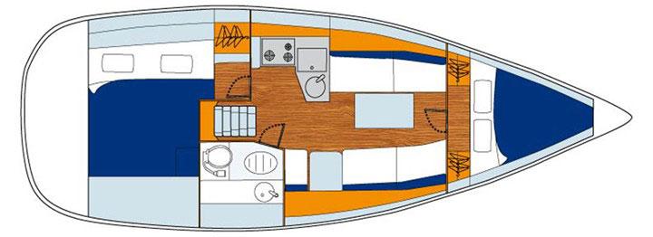 Floor plan Jeanneau 33