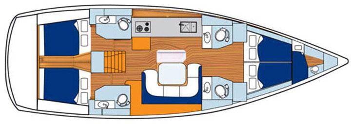 Floor plan Jeanneau 51